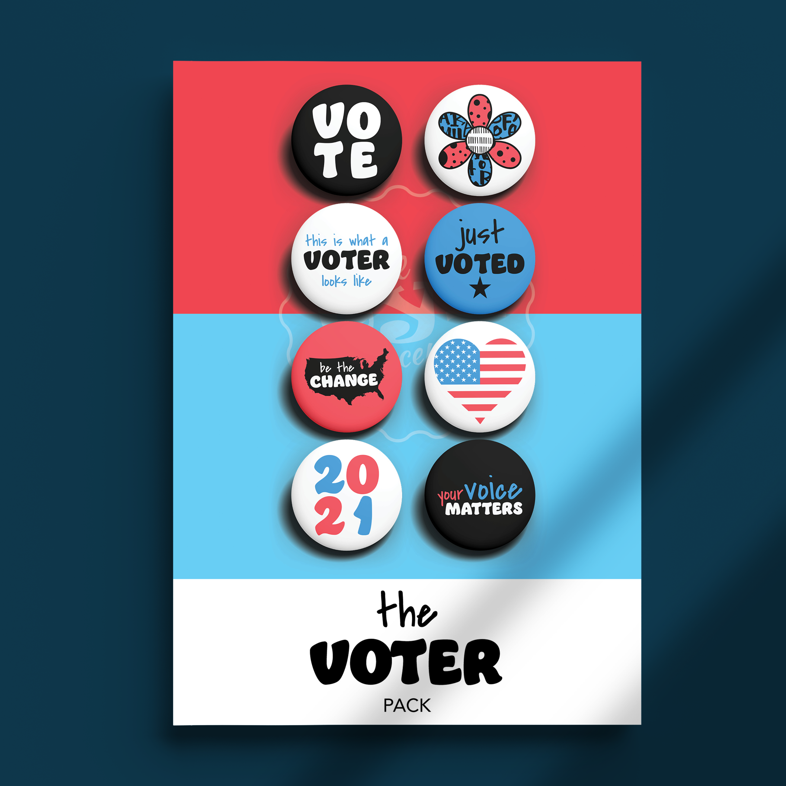 Pack of Pins. Theme of Voting.
