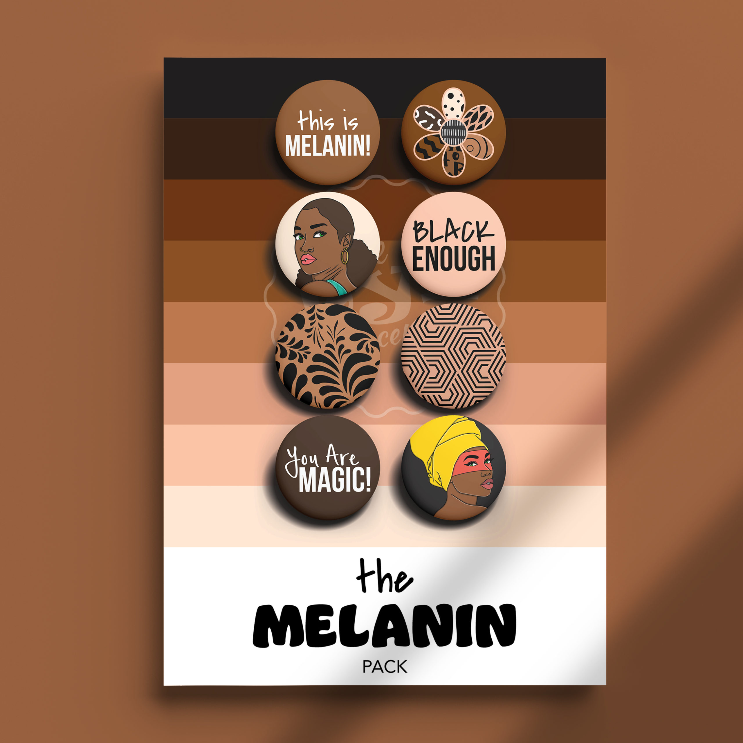 Image of The Melanin Pack pins on package