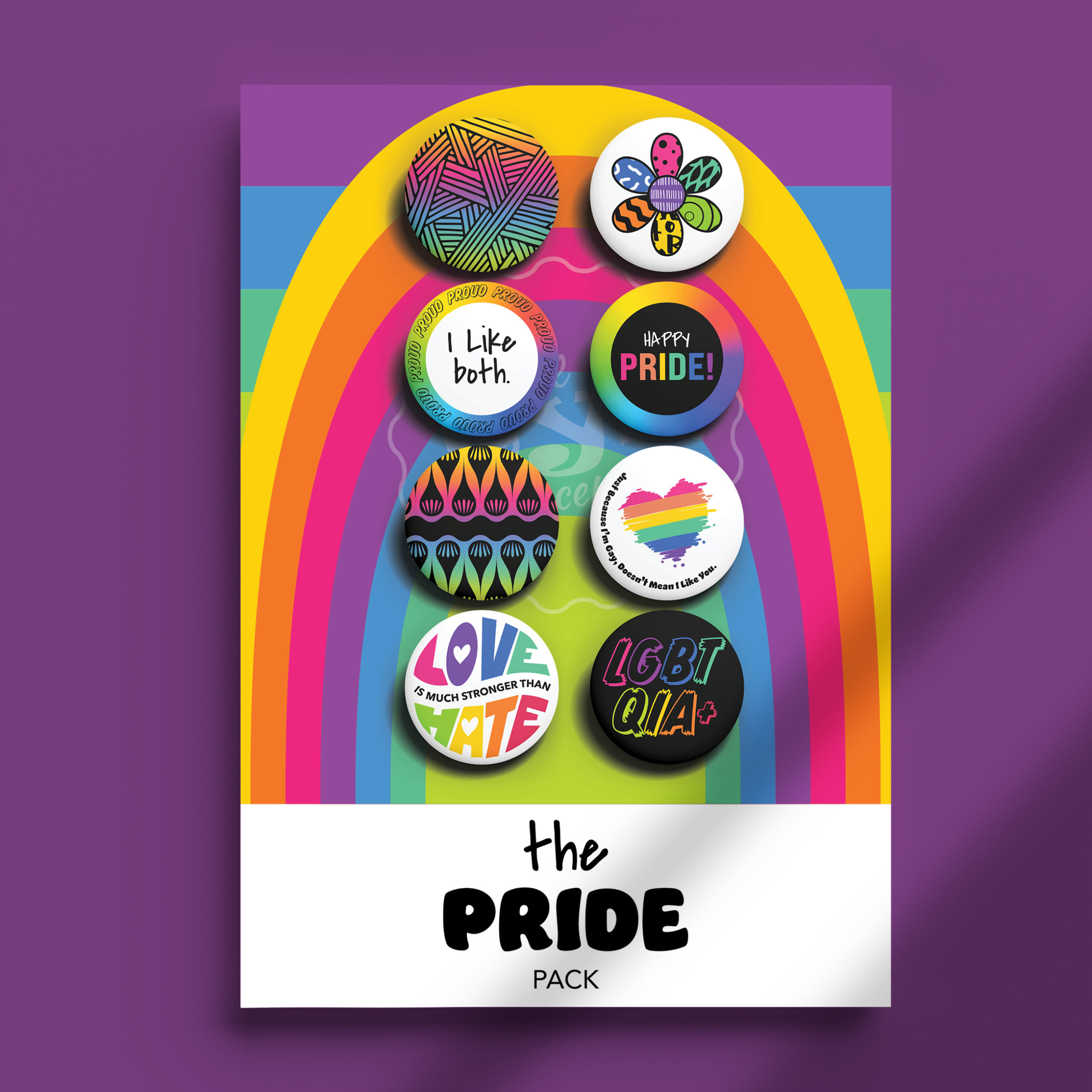 Image of The Pride I Like Both Pack pins on package