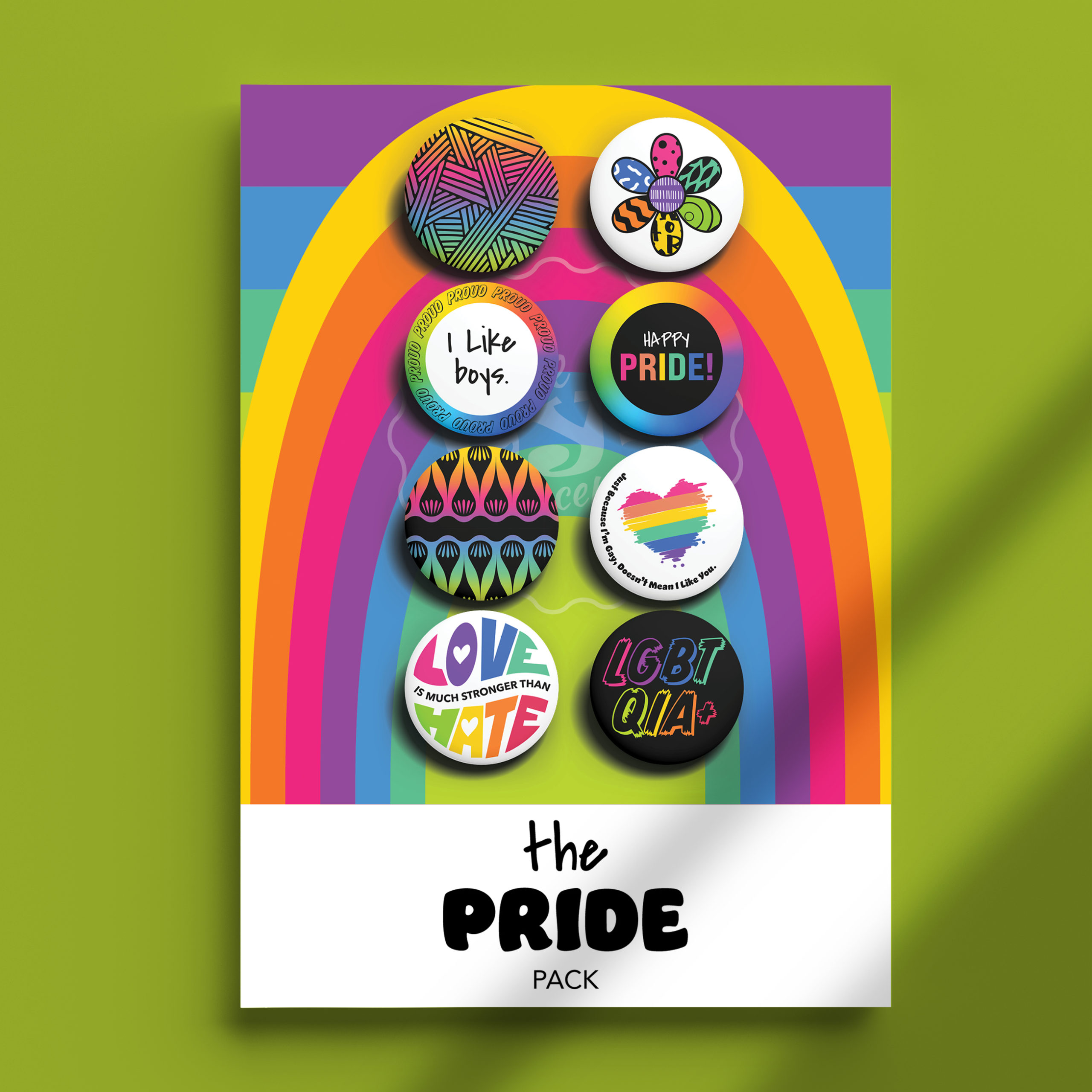 Image of The Pride I Like Boys Pack pins on package