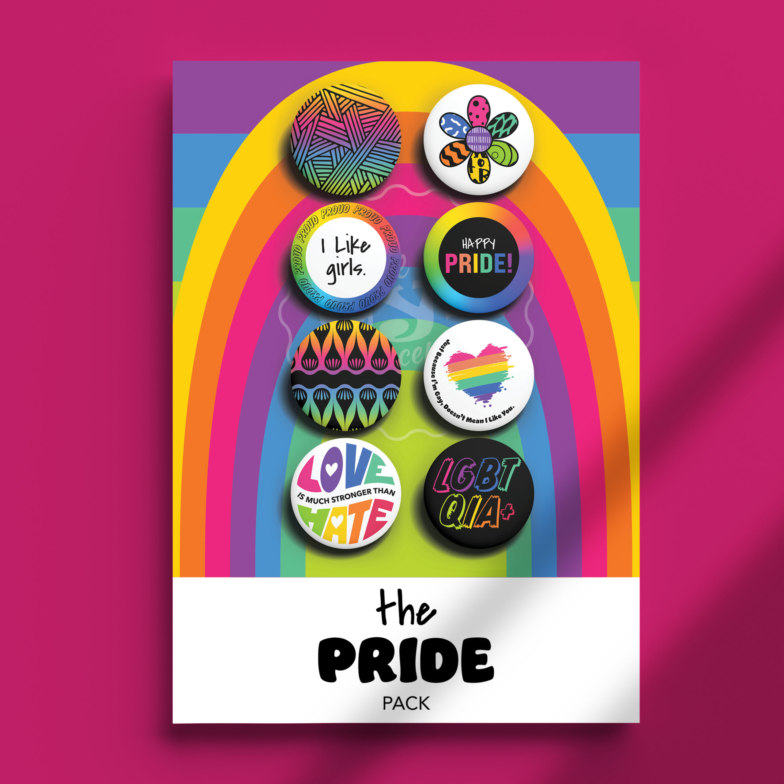 Image of The Pride I Like Girls Pack pins on package